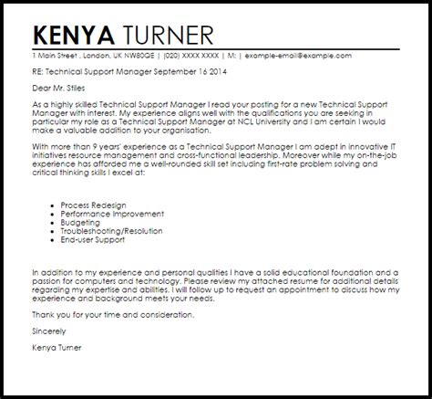 Cover Letter Template It Support Technical Support Manager Cover Letter Sle Livecareer