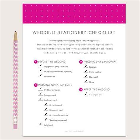 stationery checklist for a wedding wedding stationery checklist printable love vs design