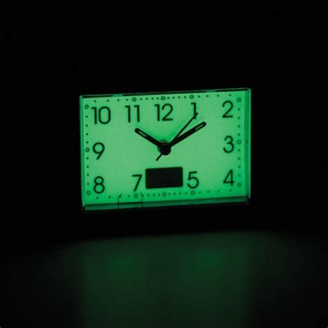 glow in the alarm clock with temperature display