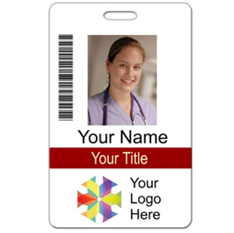 hospital id badge template photo id custom 2 lines text bar code logo name tag