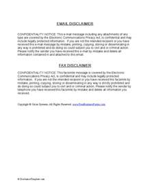 Trademark Disclaimer Template by Fax Disclaimer And Email Disclaimer Exles Hashdoc