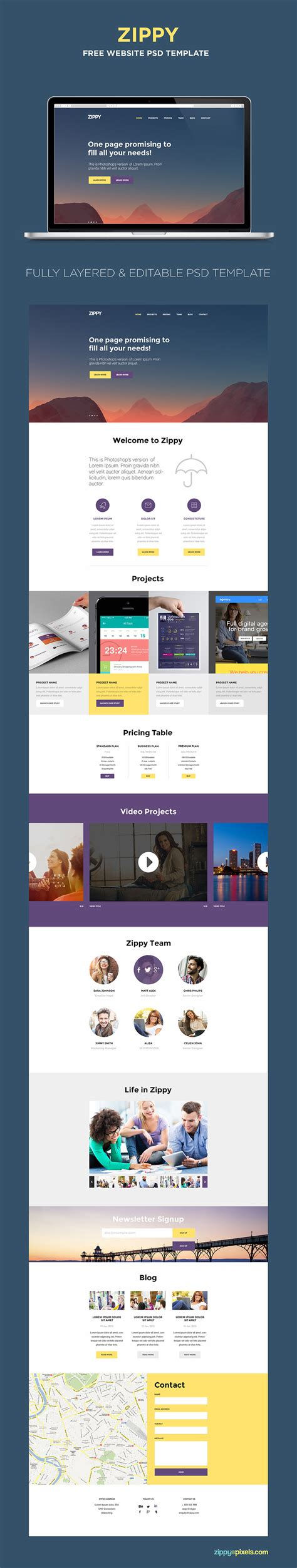 Free One Page Website Template Psd Zippypixels Single Page Website Template