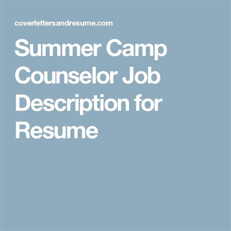 summer camp counselor resume counselor resume summer camp counselor