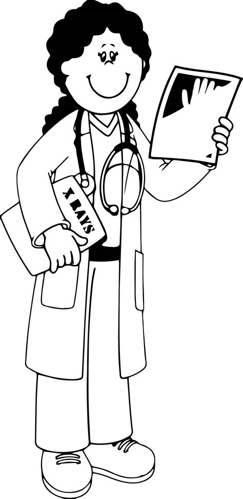 coloring pages girl doctor community helper x ray doctor coloring page wecoloringpage