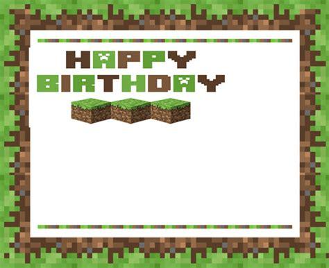 Minecraft Birthday Card Template Free