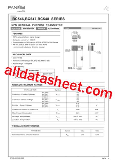 bc547 all transistor datasheet bc547 datasheet pdf pan jit international inc