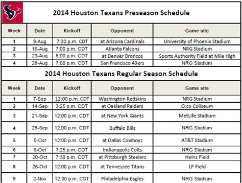 printable 2014 texans schedule print nfl schedules