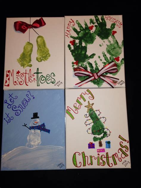 handprint footprint christmas crafts holiday