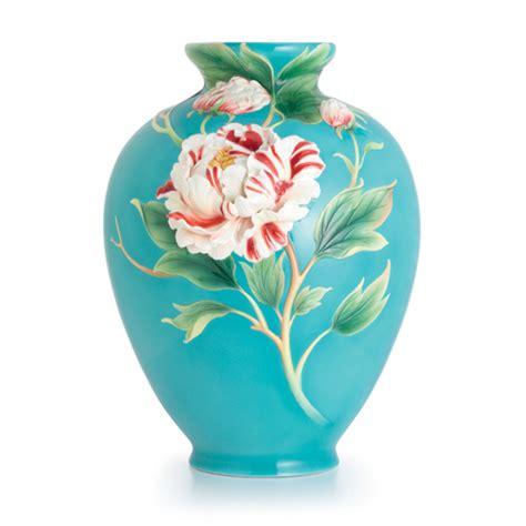Franz Porcelain Vases by Franz Porcelain Collection Peony Design Sculptured
