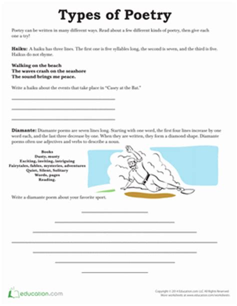types of sheets types of poetry worksheet education com