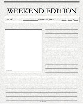 Weekend Writing Weekend News Template Front Page By Cleverly Bearly Writing A Newspaper Article Template