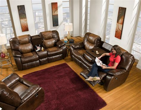 console behind reclining sofa southern motion furniture avalon collection featuring
