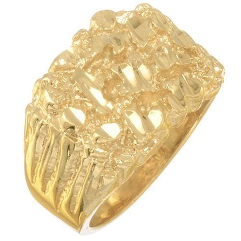 s solid 14k gold layered nugget r rings