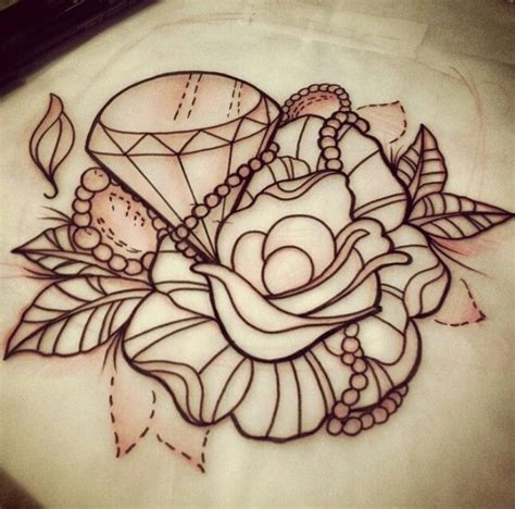 diamond tattoo and custom art flower diamond tattoo sketch tattoos pinterest