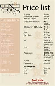 hair salon price list template free hair salon arj design