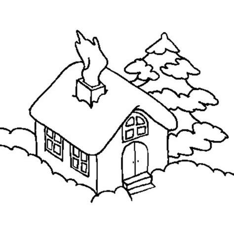 how to color a house house covered by snow in houses coloring page netart