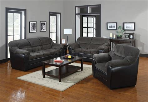 Corduroy Living Room Set Connell Gray Corduroy And Espresso Pu 3 Pc Sofa Set Sofa Loveseat And Cha