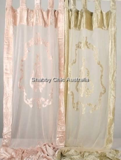 shabby french provincial chic pair embossed curtain drapes