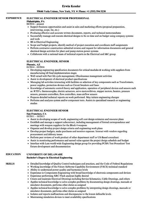 electrical engineer senior resume sles velvet