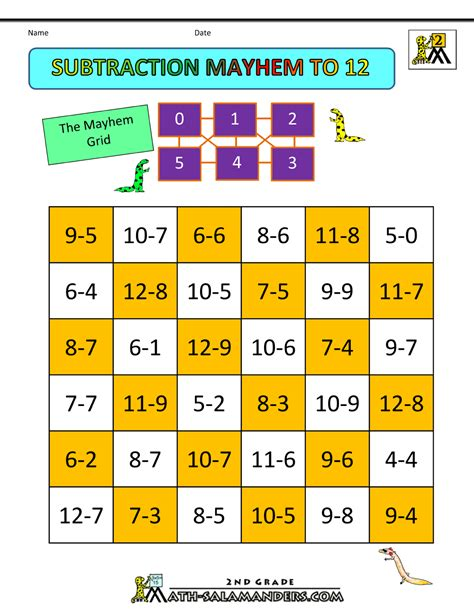 printable math games 2nd grade subtraction games 2nd grade