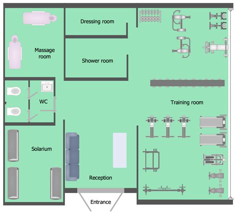 Athletic Training Room Floor Plan Gym And Spa Area Plans Solution Conceptdraw Com