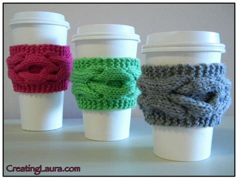 free knitting pattern coffee cup sleeve beverage cosy knitting patterns in the loop knitting