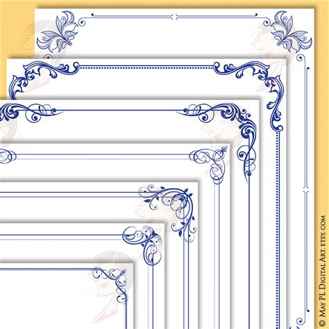design frame cdr navy blue page border frame 8x11 flourish foliage clipart