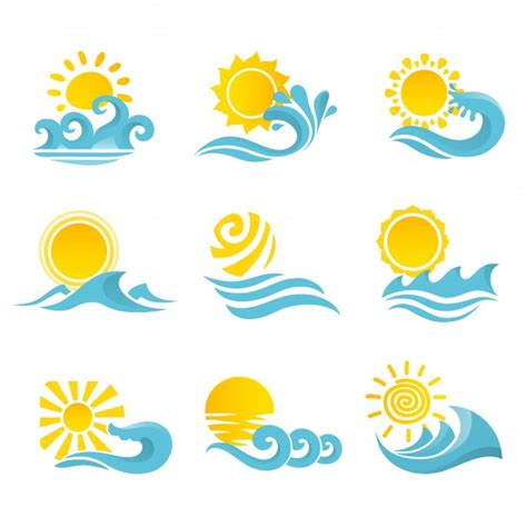 clipart mare waves flowing water sea icons set with sun isolated