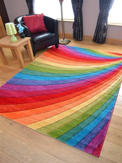 bright colored rugs modern thick dense pile bright coloured rainbow floor mat