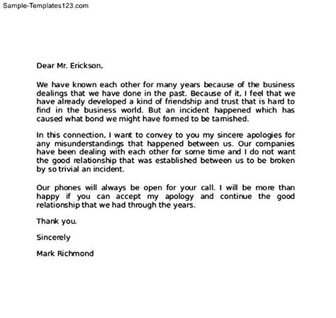 Sle Business Apology Letter To Business Apology Sle Letter Sle Templates
