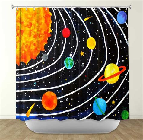 solar system shower curtain kids shower curtain solar system 4 kids bathroom decor