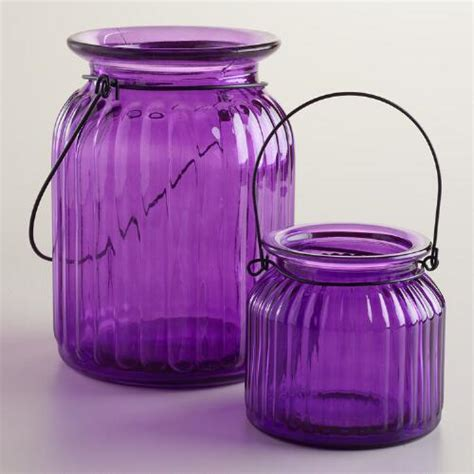 Purple Candle Holders Your Chance Purple Ribbed Glass Lantern Candle Holders World Market