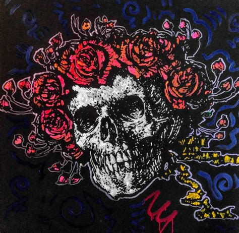grateful dead home decor large grateful dead art canvas painting quot skull and roses