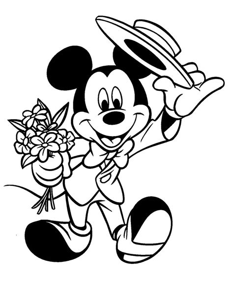 mickey mouse wedding coloring page coloriage mikey chapeau