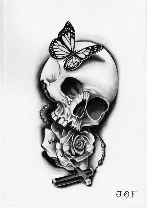 Grayscale butterfly-skull-rose-cross - 05/2015 | Small