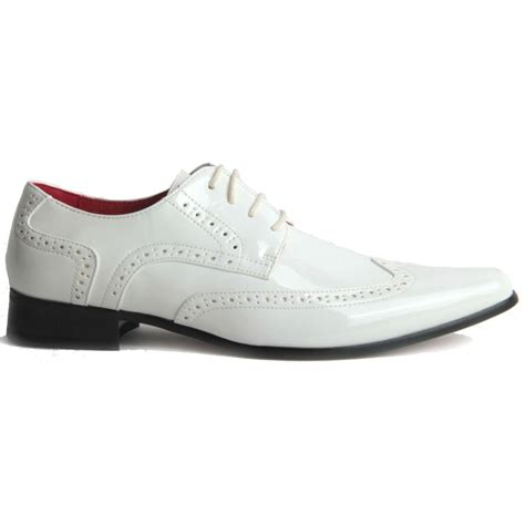 mens smart lace up pointed toe brogue formal patent