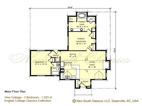 Cottage Open Floor Plan | 2 bedroom house plans with open floor plan 2 bedroom