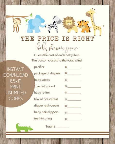 Baby Shower Price Is Right by The Price Is Right Baby Shower Jungle Theme Print