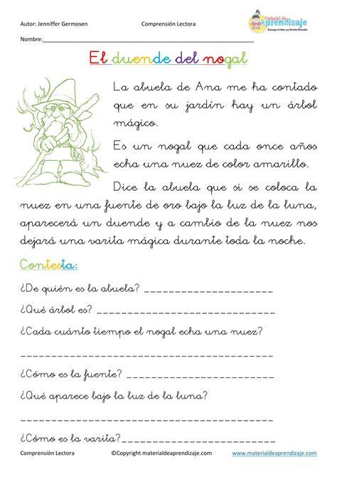 cuentos para tercero de primaria fichas de comprensi 243 n lectora spanish language and school