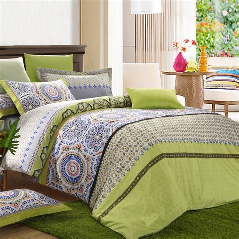 Grey And Green Bedding by Acid Green Grey And Brown Moorish Pattern Tribal Circle