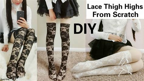 diy knee high socks from tights diy lace thigh highs socks from scratch in 15