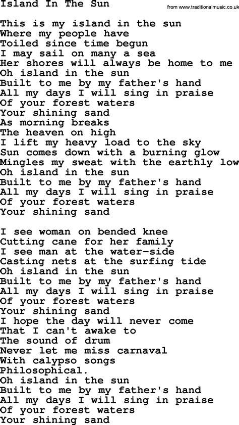 ukulele tutorial island in the sun joan baez song island in the sun lyrics