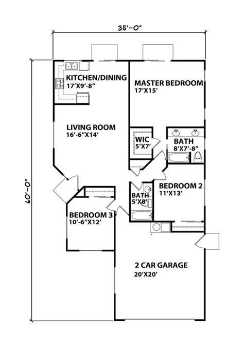 Ranch Style House Plan 3 Beds 2 Baths 1350 Sq Ft Plan 1350 Sq Ft House Plan