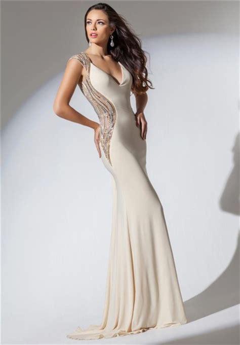 beaded ivory dress mermaid v neck open back ivory chiffon beaded evening