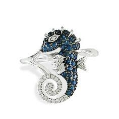 High Maintenance Jewelry by White Gold Seahorse Pendant With Sapphires And Diamonds