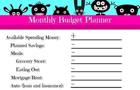 Feature Budget Template by Free Printable Monthly Budget Planner