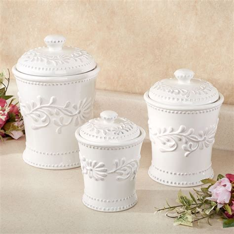 White Kitchen Canister Sets Anca Leaf White Kitchen Canister Set