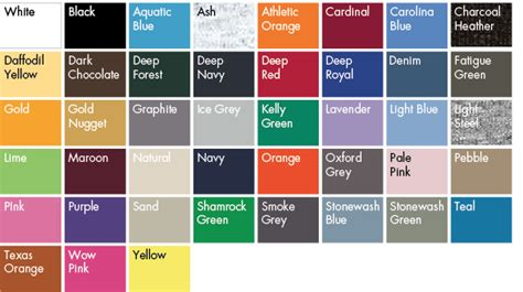 hanes t shirt colors hanes color chart pictures to pin on pinsdaddy