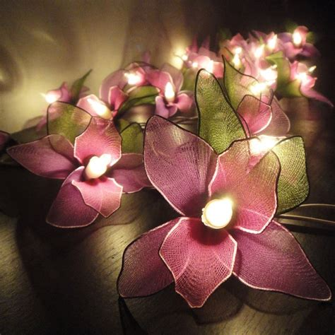 20 Purple Orchid Flower Fairy String Lights Wedding Party Orchid String Lights