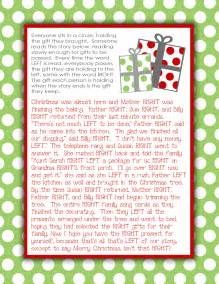 elf gift passing game free 7 best images of religious right left printable right left